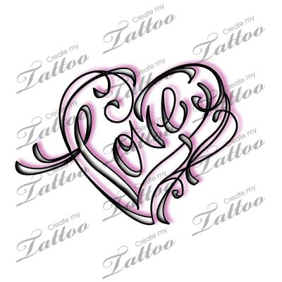 Marketplace Tattoo Love Calligraphy And Swirl Heart