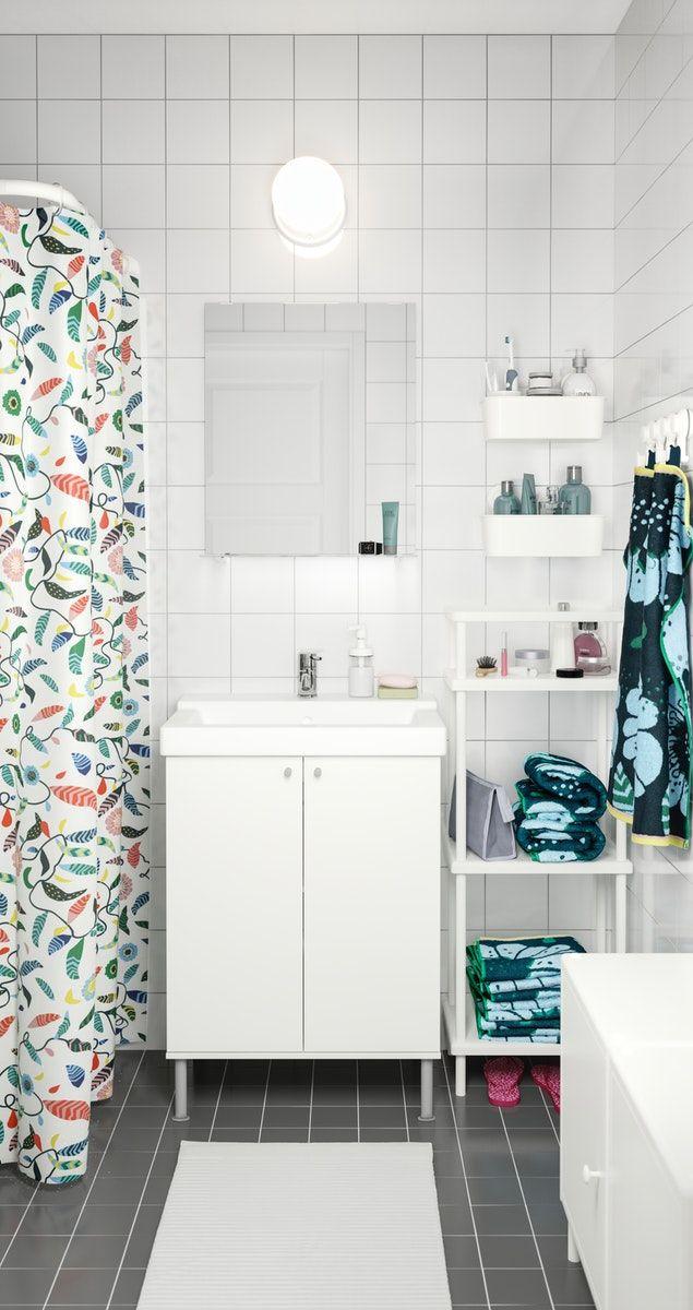 Dynan Shelf Unit With Towel Rail White Ikea In 2020 Towel Rail Shelf Unit Sleek Storage