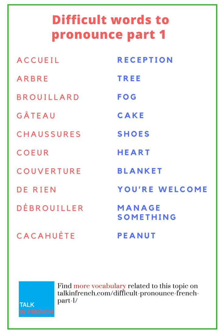 30 Difficult Words to Pronounce in French: Part 1 | French ...