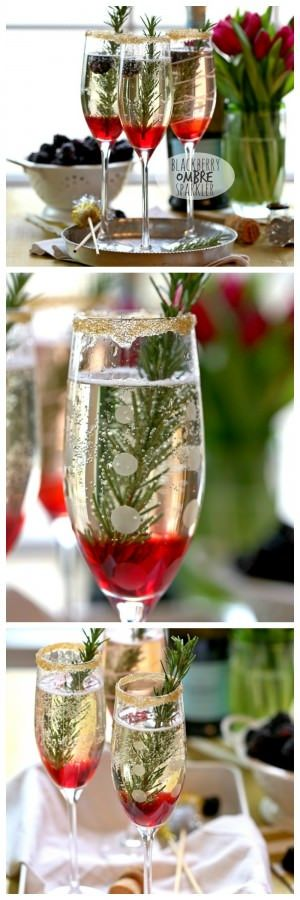 Blackberry Ombre Sparkler!! Made with Blackberry Simple Syrup, Champagne, and Rosemary. Perfect for Christmas and Valentine's Day!   The Cookie Rookie