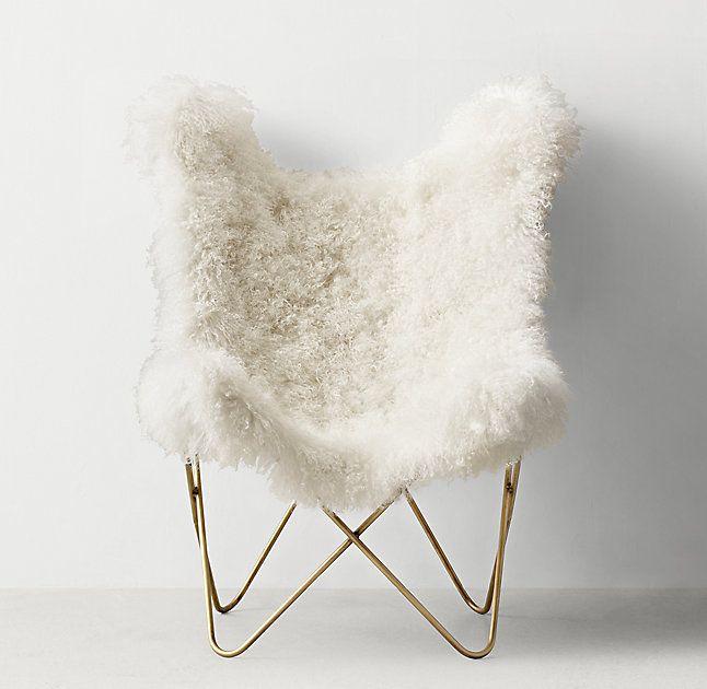 Tye Mongolian Lamb Butterfly Chair - Light Aged Brass