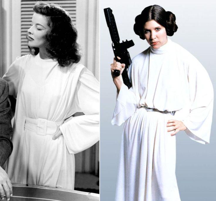"""Katharine Hepburn #Versus Carrie Fisher   En """"Historias de Filadelphia"""" (The Philadelphia Story.1940) el diseñador Adrian revolucionó el diseño de vestuario con sus creaciones para la película, ya que se incluyen pantalones por deseo de la actriz.   Una de las túnicas que luce Hepburn en el filme sirvió de inspiración a John Mollo para el vestuario de la princesa Leia en """"Star Wars"""" (1977) ⭐"""