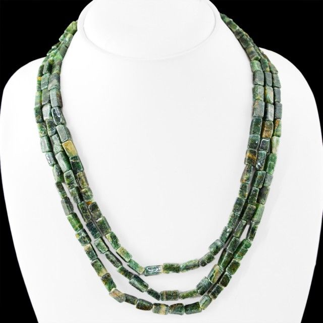 Genuine 315.00 Cts Green Jade 3 Lines Beads Necklace  jade beads, gemstone necklace
