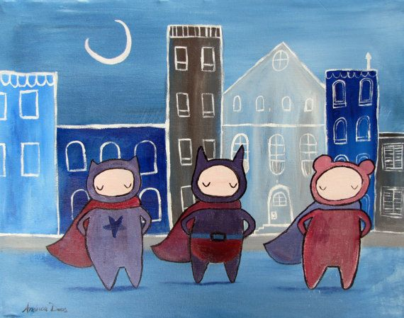 Kids Wall Art Superhero Painting Whimsical Childrens by andralynn, $100.00