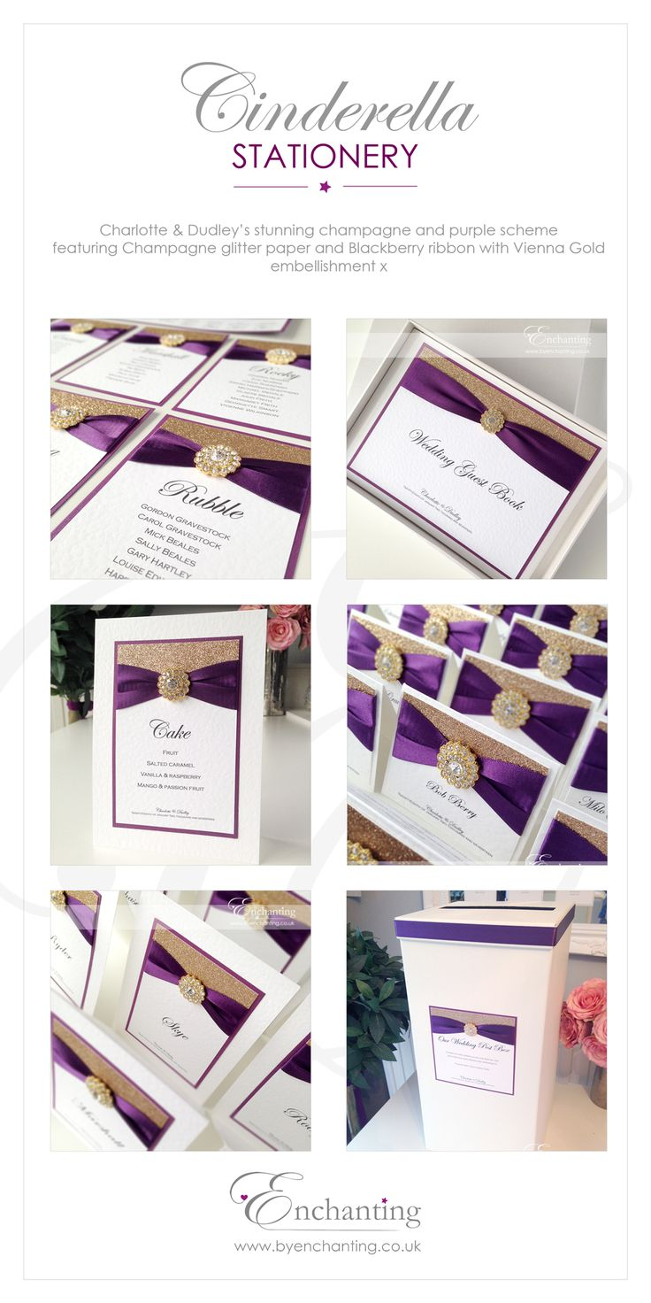 Purple Plum and Gold Wedding Stationery