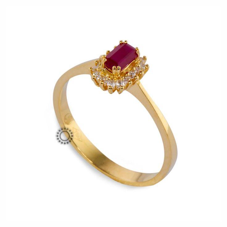 Vintage χρυσό δαχτυλίδι Κ18 ροζέτα με κόκκινο ρουμπίνι & διαμάντια μπριγιάν | Δαχτυλίδια με ορυκτές πέτρες ΤΣΑΛΔΑΡΗΣ στο Χαλάνδρι #ρουμπίνι #διαμάντια #μονόπετρο #δαχτυλίδι