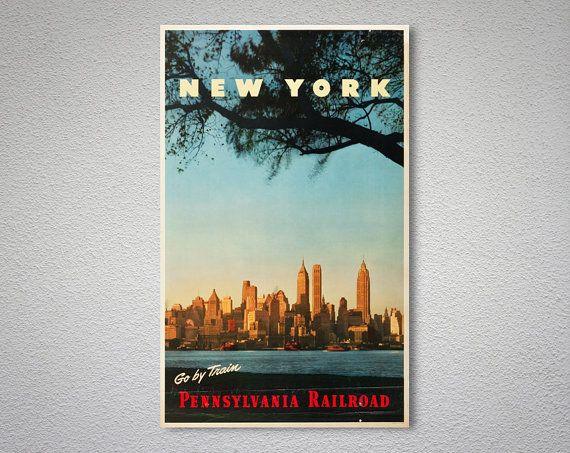 Go by Train New York Pennsylvania Railroad Vintage Travel