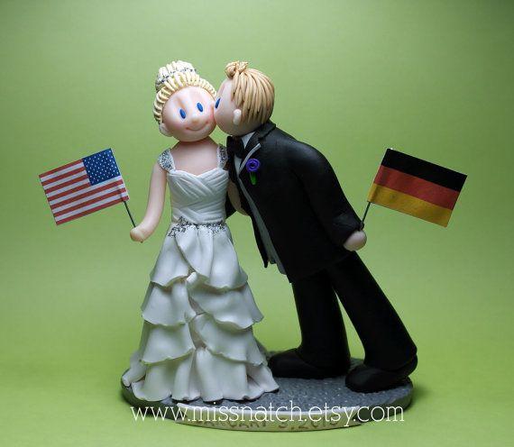 Romantic Kissing Bride Groom American Germans Flag Banner Grey White Deep Purple Wedding Cake Topper by missnatch.etsy.com