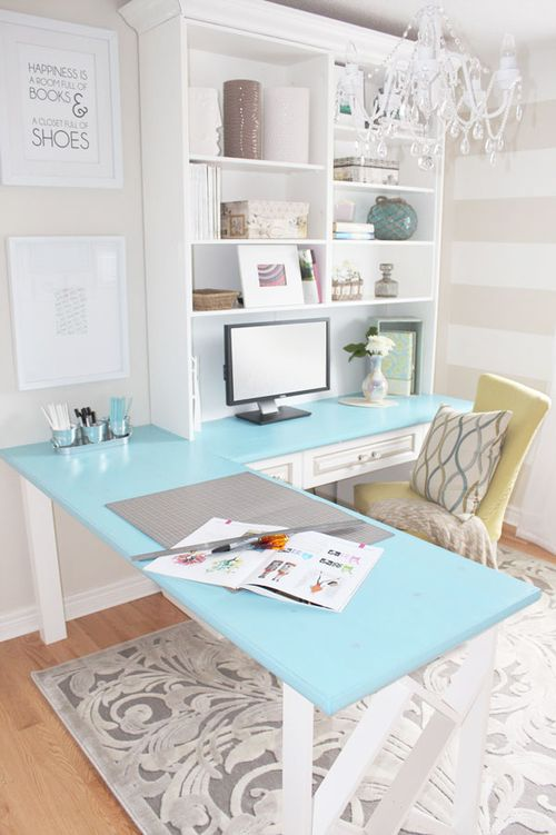 Love this light and feminine office space. Could do a space for him and a space for her...