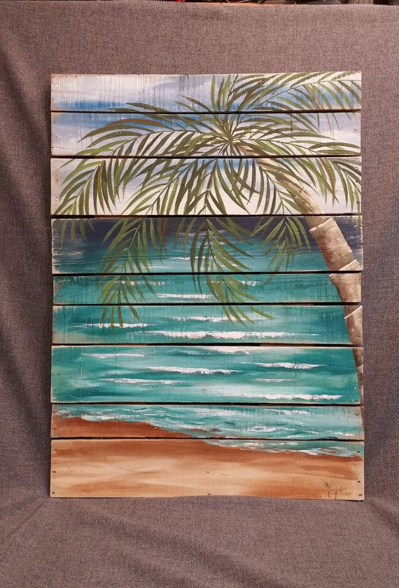 Reclaimed Wood Pallet Art BEACH Hand painted, Pallet wall decor, Seascape horizon, oceanscape, upcycled Distressed, Palm tree