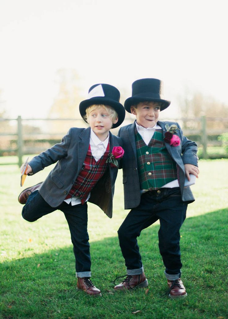 Pageboys DM Boots Tartan Waistcoars Top Hat Eclectic Cranberry Red Silver Grey Antique White Barn Wedding http://www.faithdwightphotography.com/