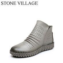 2017 Весной И Осенью Натуральной Кожи Ручной Работы Обувь Женская Молния Мягкая Чистая Кожа Плоские Случайные Ботинки Для Женской Обуви(China (Mainland))