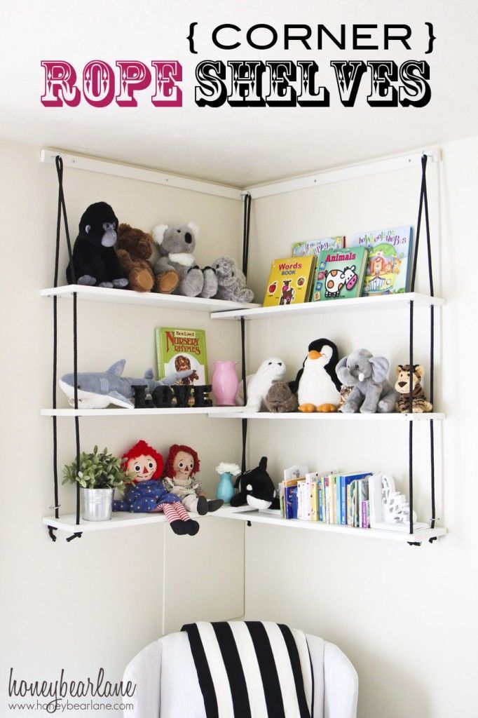 corner rope shelves! These are so fun and inexpensive too! www.honeybearlane.com #diy #diyprojects #organization