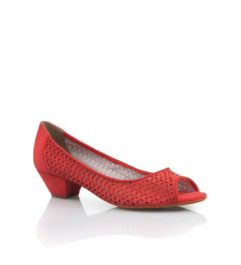 Bonbons - Chambray Tangerine Suede  Peep toe demi suede heel with laser cut outs.    Leather upper, synthetic lining and sole.    Heel: 3cm    BUY NOW