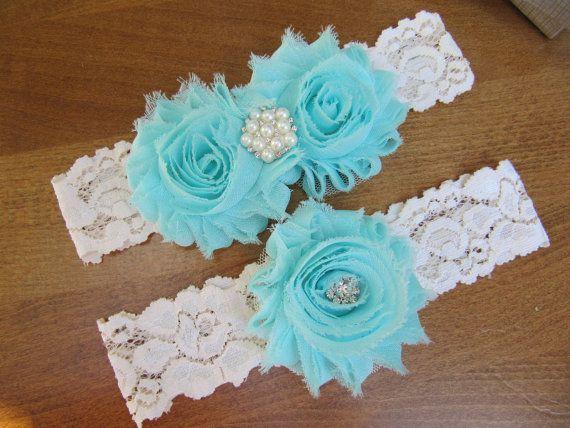 Aqua Garter Set Ivory Lace Wedding Bridal GarterLace