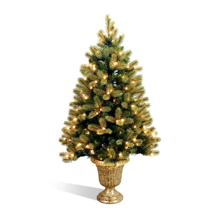 Downswept Douglas Fir Entrance Full Pre-lit Christmas Tree with Feel-Real Tips - PEDD1-342-40