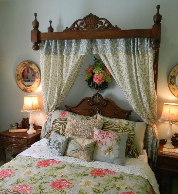 inspiration turn old furniture parts into a crown to hold bed curtains in guest room