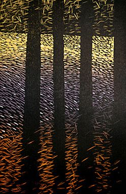 PINES ON THE RIVER.     Woodcut on poplar.   28 cm x 19 cm,   on Hosho paper.   Edition of 20