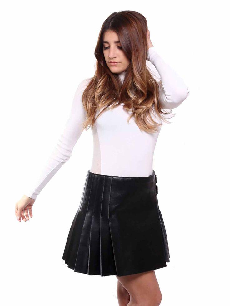 Céline Pleated Leather Skirt in black www.sabrinascloset.com