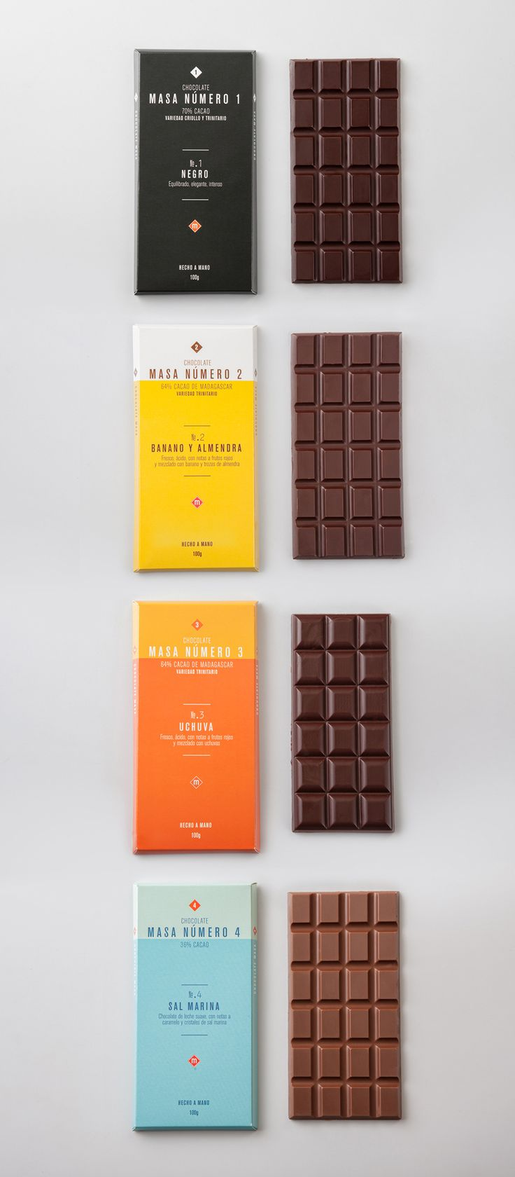 Siegenthaler & Co created this bright and colorful package design for Masa, a Columbian based chocolate company