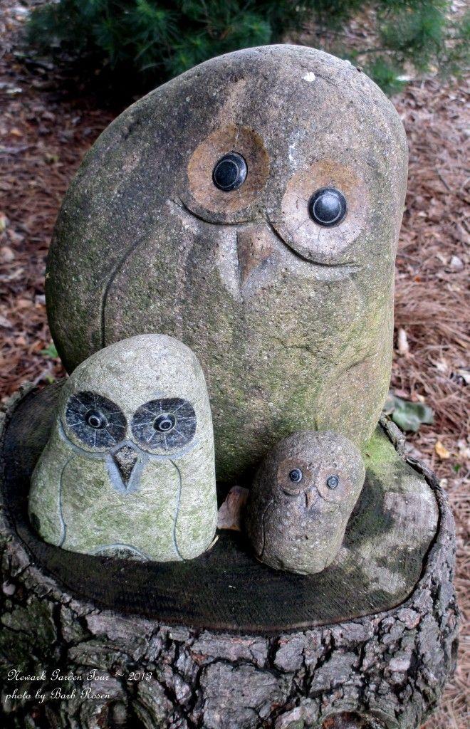 Asian Garden Art Part - 27: Stone Garden Art Owls - Great Idea!