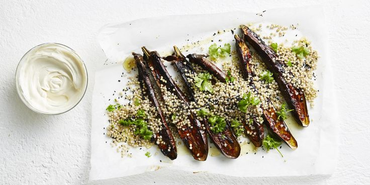 Miso-Baked Eggplant with Tahini Cream via @iquitsugar