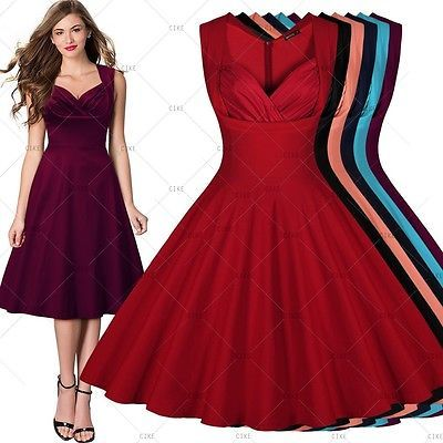 Womens Vintage 1950's Cocktail Party Casual Sexy Rockabilly Swing Flared Dresses