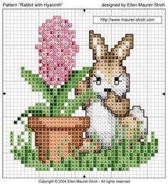 Bordados de conejos en punto de cruz