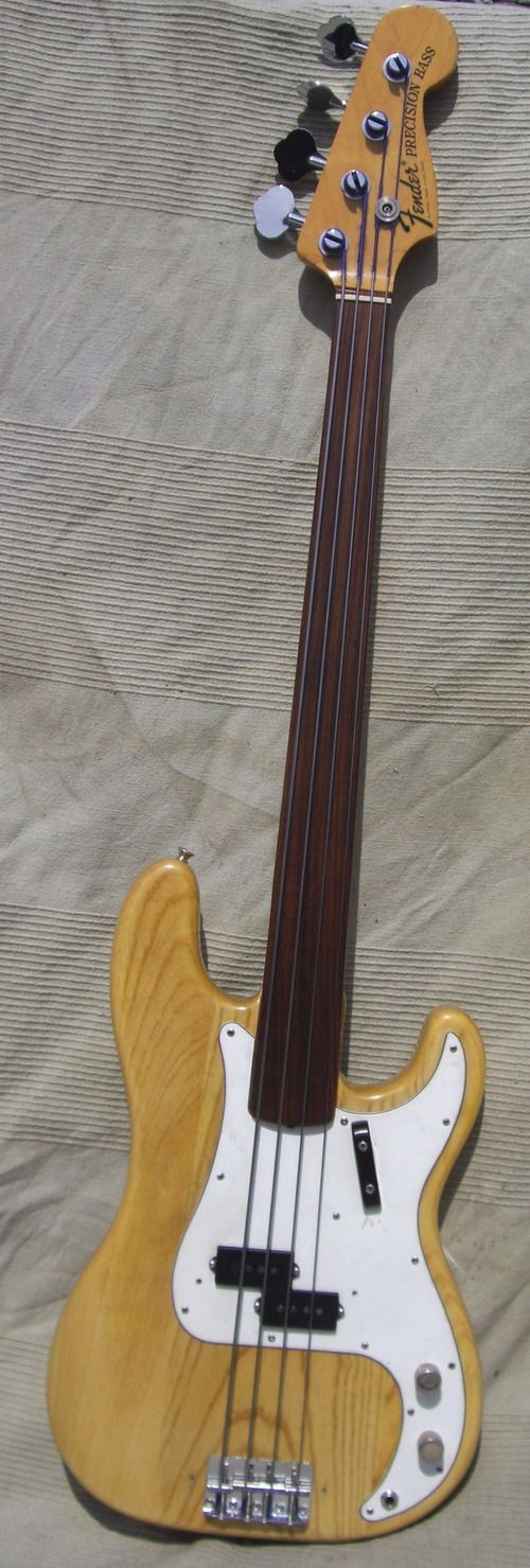 '72 FENDER PRECISION FRETLESS BASS Natural, Rosewood Neck, EX+++ code BA923