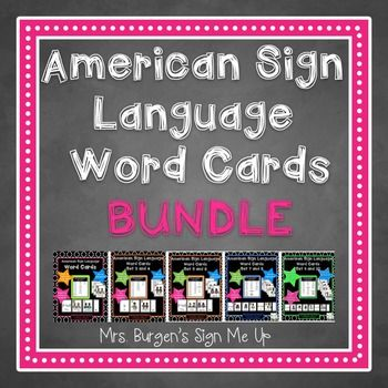 This is the BUNDLE of my American Sign Language Word Cards, By purchasing this product you will get ALL 5 SETS OF WORD CARDS. If you would like to purchase the sets individually you can use the following links. ASL WORD CARDS SET 1 and 2 ASL WORD CARDS SET 3 and 4 ASL WORD CARDS SET 5 and 6 ASL WORD CARDS SET 7 and 8 ASL WORD CARDS SET 9 and 1,...