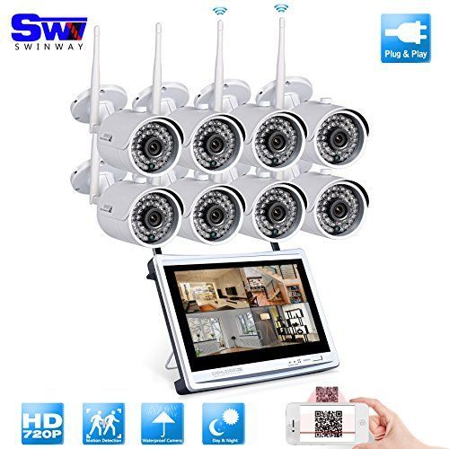 SW Swinway Security Camera System , 720P 8CH 12.5 Inch Wireless Video Surveillance System, Bullet IP66 Outdoor Wireless Camera Day Night Home Security Camera System -- Be sure to check out this awesome product.