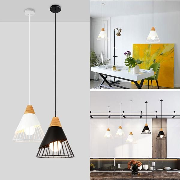 Bring Modern Nordic Style To Your Home Office Or Restaurant With This Stunning Drop Down Iron Cage Woo Modern Hanging Lamp Wooden Pendant Lamp Home Lighting