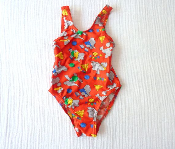 Babar toddler girls swimsuit 2T from LazerBaby Vintage, $14.00
