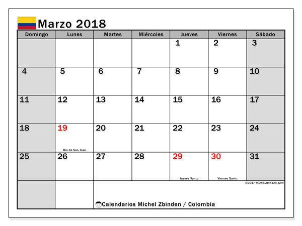 Calendario para imprimir gratis marzo 2018, con los días festivos en Colombia. Calendario mensual