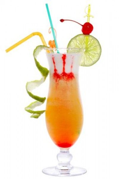 Hurricane Suzy (Tablespoon Grenadine  Tablespoon Sugar Syrup  1/2 oz Lime Juice  1 oz Orange Juice  2 oz Passionfruit Juice  2 oz Dark Rum  2 oz White Rum)