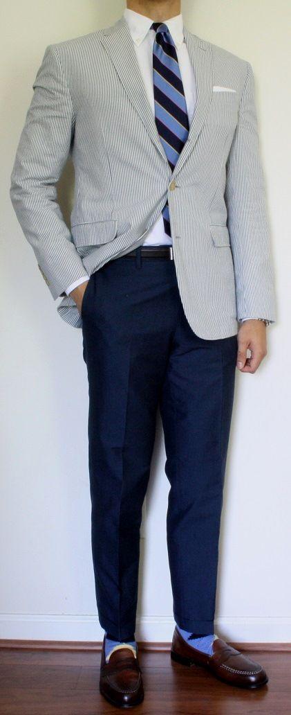 Seersucker sport coat, white OCBD, Argyll & Sutherland tie, navy pants
