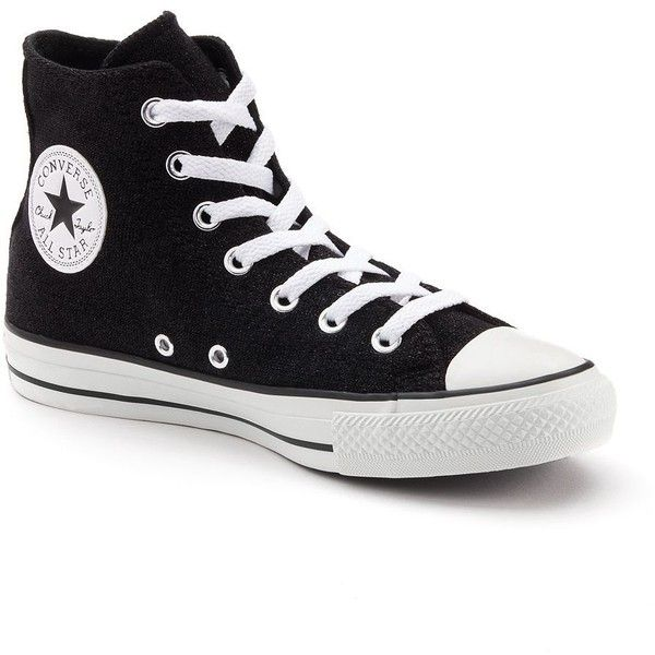 Adult Converse All Star Sparkle High-Top Sneakers, Size: 7, Black ($60) ❤ liked on Polyvore featuring shoes, sneakers, oxford, black hi top sneakers, lace up sneakers, black trainers, black high top sneakers and black high tops