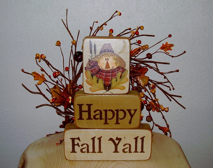 Happy Fall Yall Scarecrow Blocks. $22.00, via Etsy.