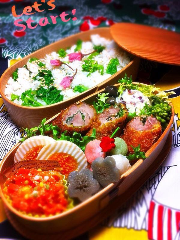 posted by @okukatu1130 おはようございます(^^) 今日のお弁当できました〜♫ 菜の花混ぜご飯、ヒレカツ、ポテサラ、タラコ人参等〜 今日もよろしくお願いします✨ #お弁当 #わっぱ弁当 #obentoart
