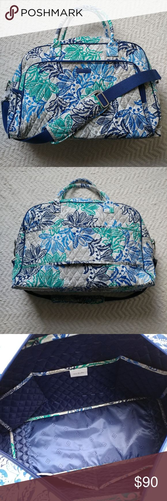 """Vera Bradley Weekender Bag (pattern:  Santiago) Perfect overnight or carry-all bag that is brand new with tags!! Roomy interior with 5 pockets. Exterior has one large zip pocket and 2 smaller open pockets. Exterior also has a large loop to loop over the handle of rolling luggage and has an adjustable shoulder strap that can be removed. Measurments are: Length 19"""" Height 14"""" Width 8""""  🌻Check out my daughter's closet too! @mrwidmer Vera Bradley Bags Travel Bags"""
