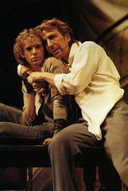 """Hilton McRae as Patroclus and Alan Rickman (right) as as Achilles in Royal Shakespeare Company's 1985 production of """"Troilus and Cressida"""" Stratford-Upon-Avon, England."""