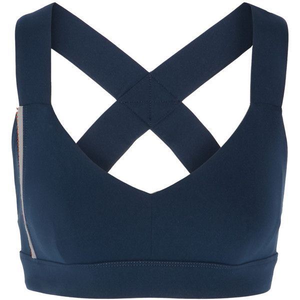 No Ka'Oi - Ola Bead-embellished Stretch-jersey Sports Bra ($63) ❤ liked on Polyvore featuring activewear, sports bras, navy, sports bra, striped sports bra, navy blue sports bra, stretch jersey and navy sports bra