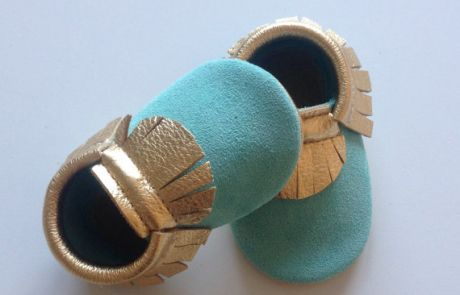 New Moccasins at BabyMoccasinsShoes.com  (Mint and Gold Leather Baby Moccasins)