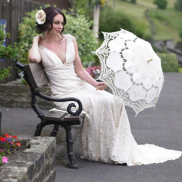 Handmade Pure Cotton Lace Embroidery Ladies Parasol Bridal Wedding Umbrella And Hand Fan in a Set /$62.83   DHgate.com