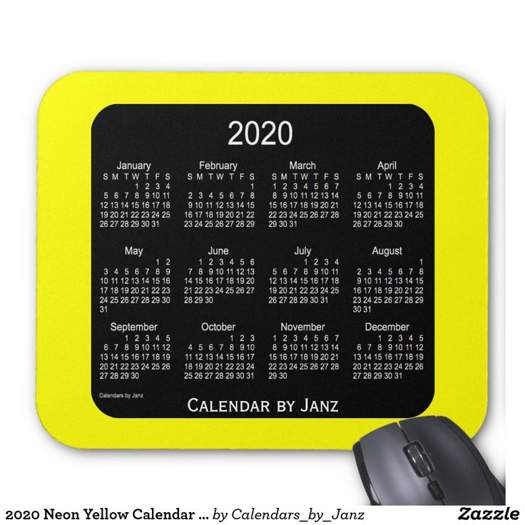 2020 Neon Yellow Calendar by Janz Mousepad