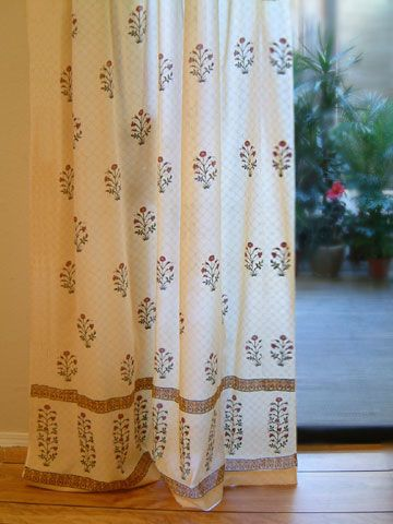 Red Poppy ~ Elegant Indian Flower Print Tab Top Curtain Panel