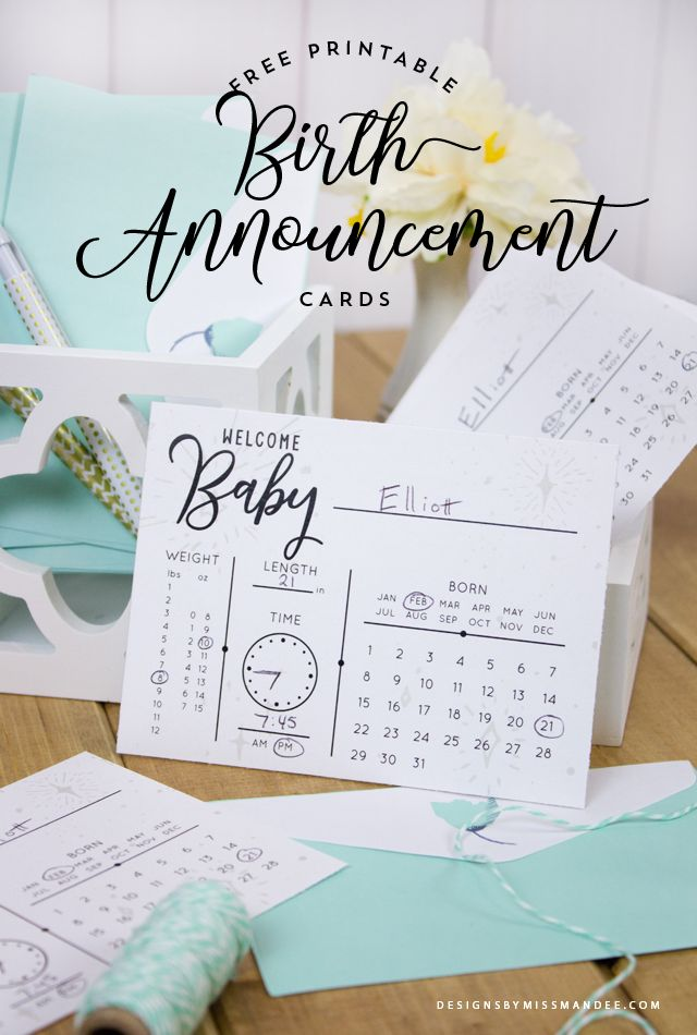 "Birth Announcement Cards - Designs By Miss Mandee. Print off these cute, simple cards and fill out the stats about your little one. Love that these are gender neutral, and something you can get ready before the baby comes! Also work great as ""baby prediction"" cards."