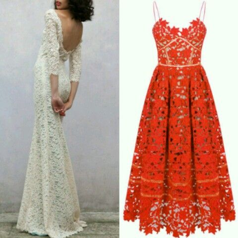 Perfect bridesmaid dress next to this beautiful lace wedding gown. A spanish inspiration wedding