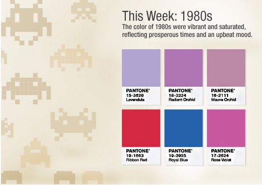 PANTONE Turns 50: Celebrate and Save This Week's Palette - the 1980s! #red #blue #purple #mauve #Golden50 #pantone