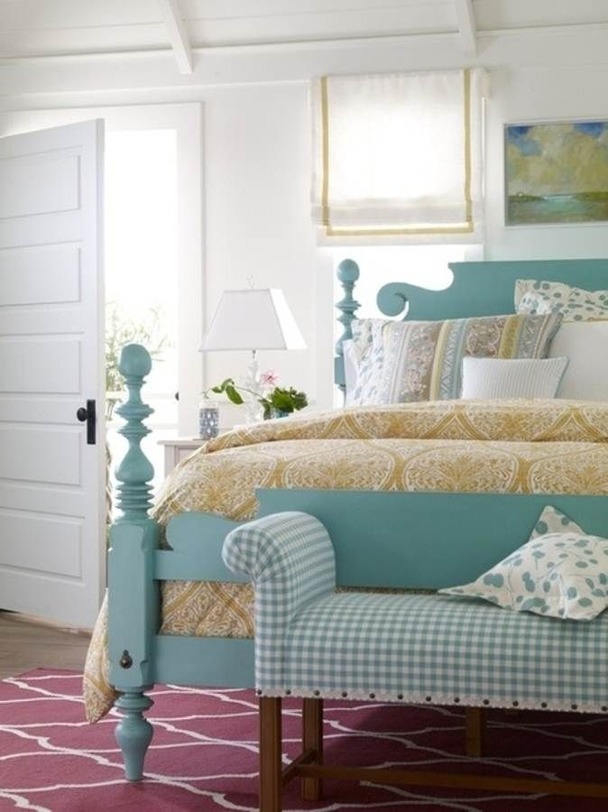 Ethan Allen Quincy turquoise bed, bench, roman shades, mustard comforter